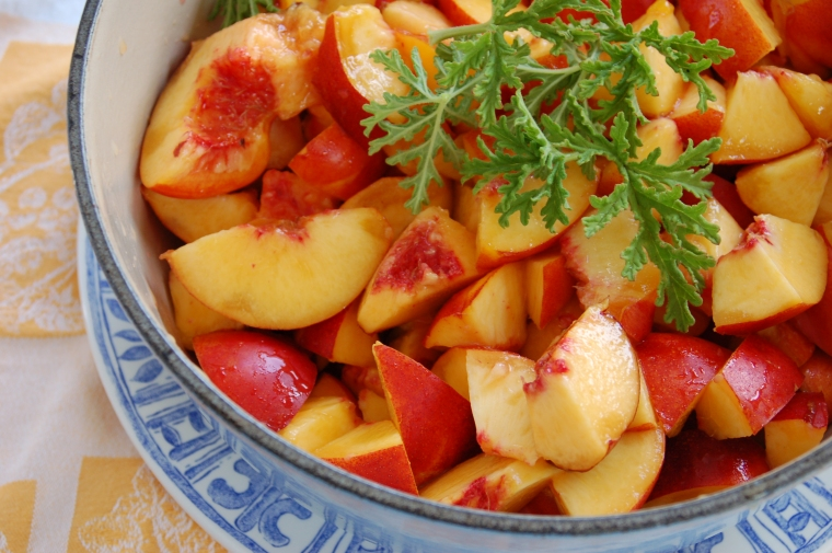 The amazing Nectarine and Sweet Geranium Jam recipe that I learned at the Ballymaloe Cookery School in Ireland.